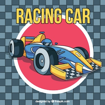 Formula 1 racing car in hand drawn style
