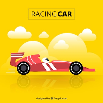 Formula 1 racing car with flat design
