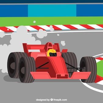 Formula 1 racing car with flat design