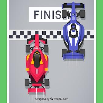 Formula 1 racing cars crossing finish line