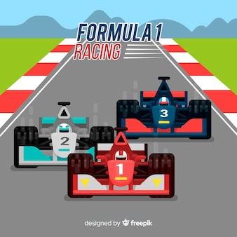 Formula 1 racing cars with flat design