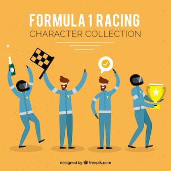 Formula 1 racing character collection with flat design