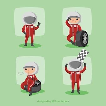 フラットデザインのformula 1パイロットキャラクターコレクション