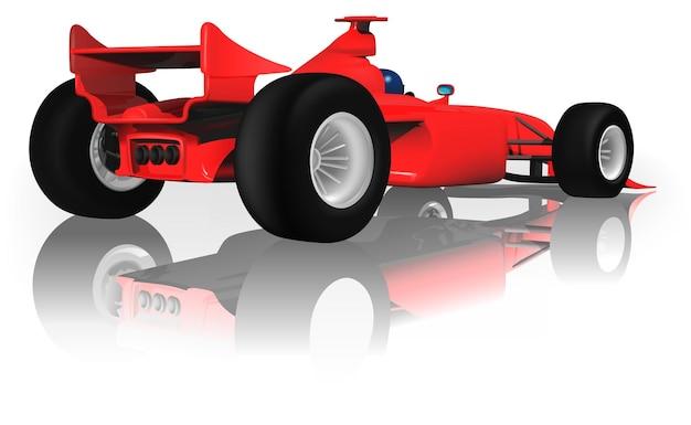 Автомобиль формулы-1 на белой светоотражающей поверхности