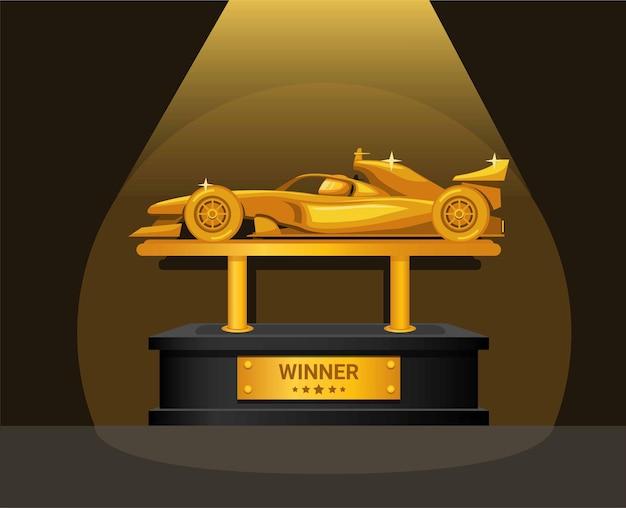포뮬러 레이스 우승자 황금 상 thropy 기호 개념 그림