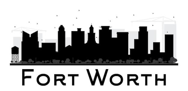 フォートワース市のスカイラインの黒と白のシルエット。観光プレゼンテーション、バナー、プラカードまたはwebサイトのシンプルなフラットコンセプト。ランドマークのある街並み。ベクトルイラスト。