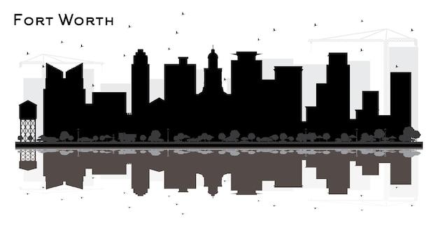 검은 건물과 반사와 포트 워스 텍사스 도시 스카이 라인 실루엣. 벡터 일러스트 레이 션. 현대 건축과 비즈니스 여행 및 관광 개념입니다. 랜드마크가 있는 포트 워스 도시 풍경.