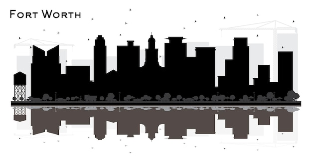 Fort worth texas city skyline silhouette with black buildings and reflections. vector illustration. business travel and tourism concept with modern architecture. fort worth cityscape with landmarks.