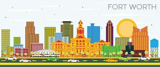 색상 건물과 푸른 하늘이 있는 포트 워스 텍사스 도시의 스카이라인. 벡터 일러스트 레이 션. 현대 건축과 비즈니스 여행 및 관광 개념입니다. 랜드마크가 있는 포트 워스 도시 풍경.