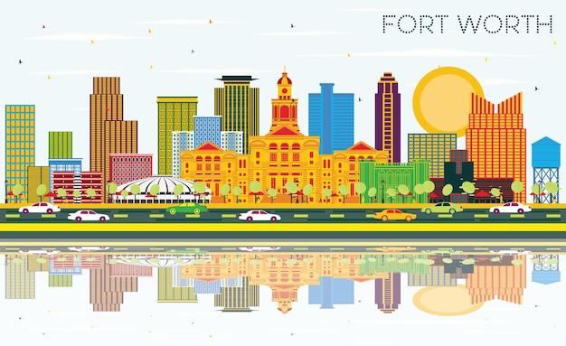 색상 건물, 푸른 하늘 및 반사와 포트 워스 텍사스 도시 스카이 라인. 벡터 일러스트 레이 션. 현대 건축과 비즈니스 여행 및 관광 개념입니다. 랜드마크가 있는 포트 워스 도시 풍경.