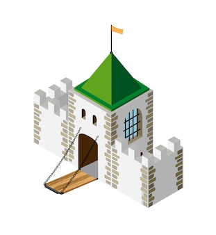 Fortress protection guard isometric projection of building architecture