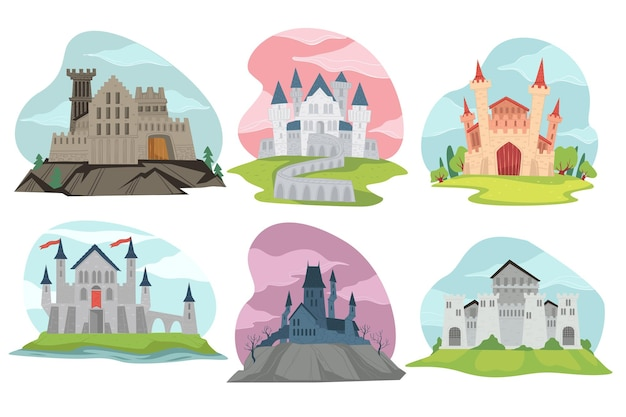 Fortresses and fantasy castles, medieval architecture made of stone