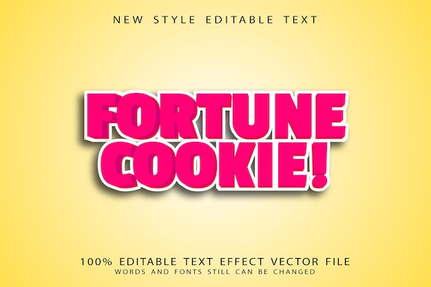 Fortune cookie editable text effect emboss cartoon style