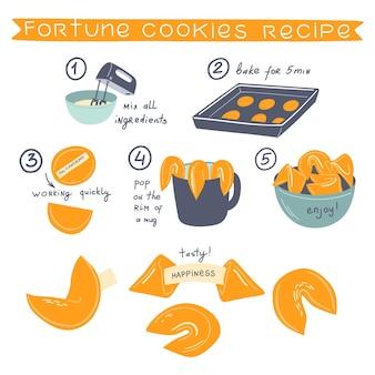 포춘 쿠키 레시피 세트 벡터 손으로 그린 그림 재료 및 쿠키 만들기 단계