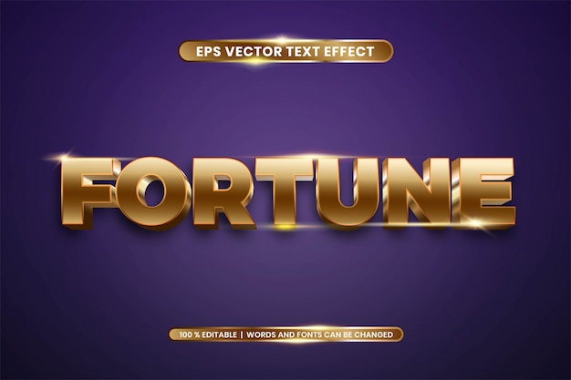 Редактируемый текстовый эффект - стиль fortune gold color