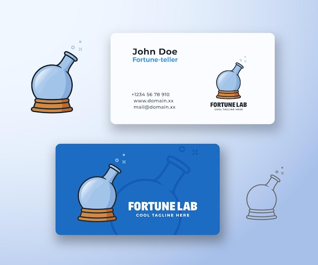 Fortune laboratory abstract vector sign or logo and business card template.