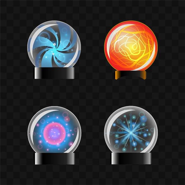 Fortune sphere - реалистичный современный векторный набор различных волшебных шаров. черный фон. используйте этот высококачественный клип-арт для презентаций, баннеров, листовок. круглые предметы, содержащие скрытые знания.
