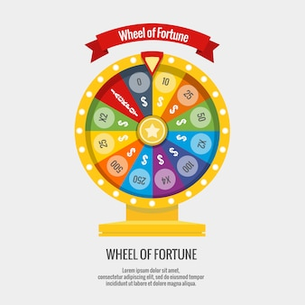 Fortune spinning wheel in flat style.