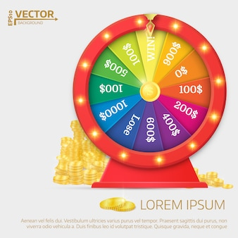 Fortune spinning wheel in flat vector style.