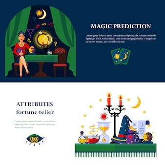 Fortune teller attributes 2 flat banners