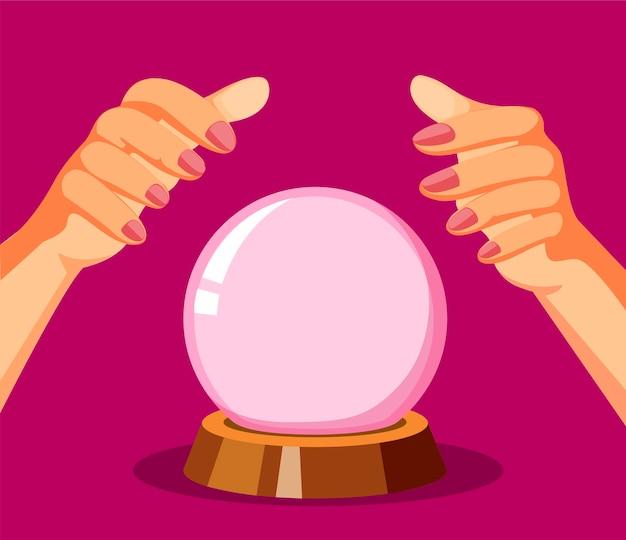 Предсказатель судьбы. рука с концепцией хрустального шара в иллюстрации шаржа