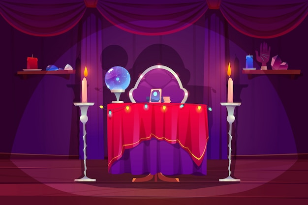 Fortune teller room with magic ball, tarot cards