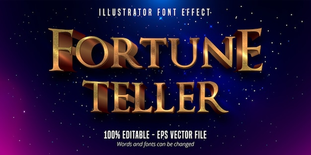 Fortune teller text,  gold metallic style editable font effect