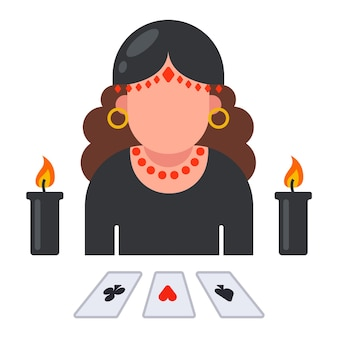 Fortune teller with laid out cards. predict the fate of a person. flat illustration.