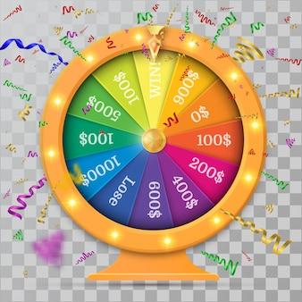 Fortune of wheel and confetti.