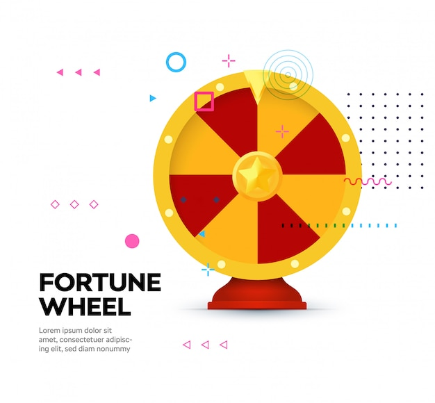 Fortune wheel icon on memphis style background.
