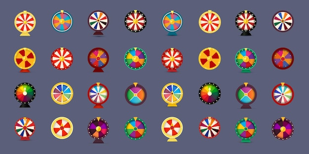 オンラインカジノの賭けと宝くじのベクトル図をギャンブルするためのフォーチュンホイールアイコンセットdスタイルのグラフィック