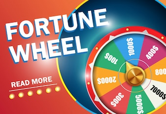 Fortune wheel read more lettering on red background. Casino business advertising