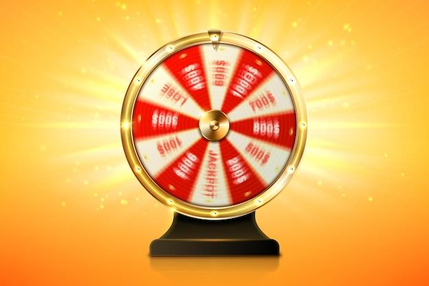Казино с вращением колеса фортуны, удачная рулетка, азартная игра с проигрышными денежными призами и выигрышами джекпота, азартная лотерея или розыгрыш онлайн-развлечений, реалистичная иллюстрация d