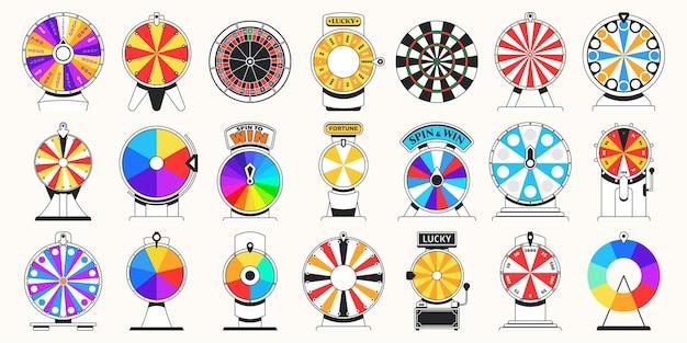 Колеса фортуны для вращения, чтобы выиграть игровой плоский набор иллюстраций