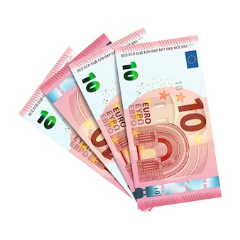 Forty euro in bundle of banknotes