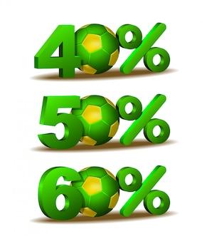 Сорок, пятьдесят и шестьдесят процентов скидка значок с футбольным мячом