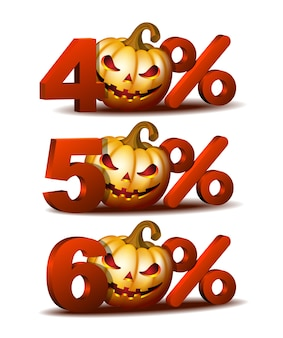 Forty, fifty and sixty percent discount icon with scary jack o lantern halloween pumpkin