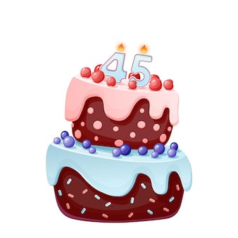 Forty five years birthday cake with candles number 45. cute cartoon festive vector image. chocolate biscuit with berries, cherries and blueberries. happy birthday illustration for parties