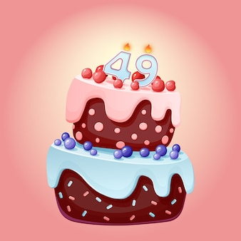 Forty nine years birthday cake with candles number 49. cute cartoon festive vector image. chocolate biscuit with berries, cherries and blueberries. happy birthday illustration for parties