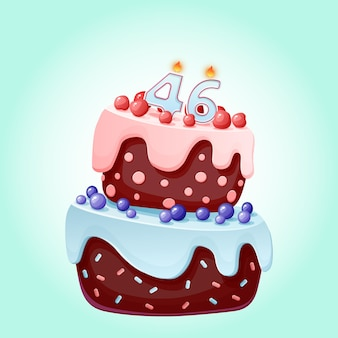 Forty six years birthday cake with candles number 46. cute cartoon festive vector image. chocolate biscuit with berries, cherries and blueberries. happy birthday illustration for parties