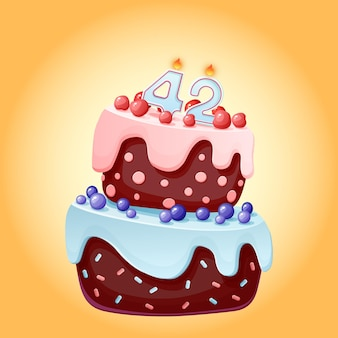 Forty two years birthday cake with candles number 42. cute cartoon festive vector image. chocolate biscuit with berries, cherries and blueberries. happy birthday illustration for parties
