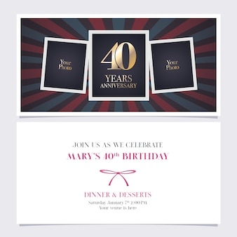 Forty years anniversary invitation with photo frame collage for 40th birthday card party invite