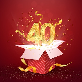 Forty years number anniversary and open gift box with explosions confetti isolated design element