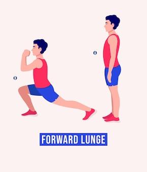 Выпад вперед упражнение для мужчин тренировка фитнеса аэробика и упражнения