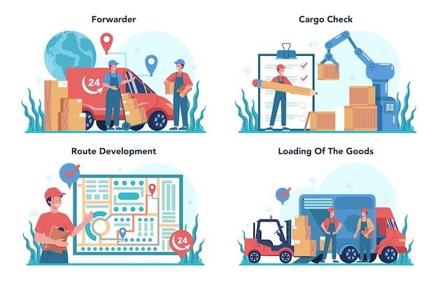 フォワーダーコンセプトセット。貨物を配達する制服のローダー。ボックスを保持している配達人。輸送サービスの概念。