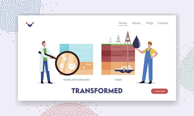 Fossil resource exploring landing page template. scientist and worker characters presenting oil and gas natural formation time line from million years ago to today. cartoon people vector illustration