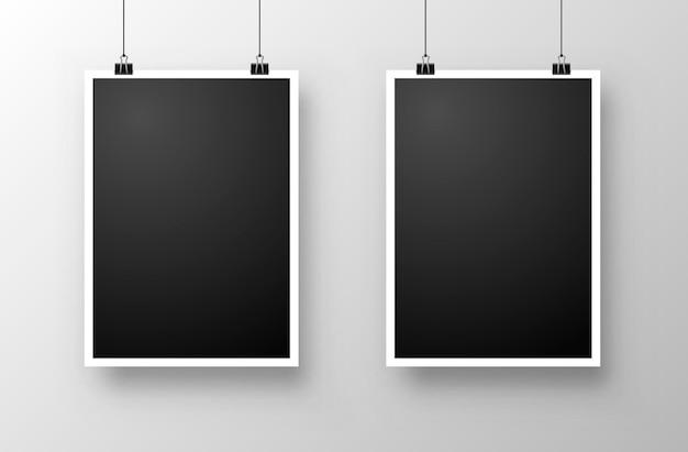 Foto frame hang on the white background. vector illustration