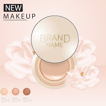 Foundation ads, attractive makeup essential product