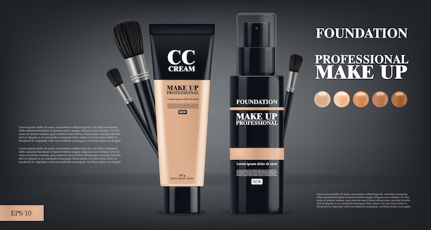 Foundation and cc cream realistic, make up cosmetics, professional, black bottle 3d package, five color illustration