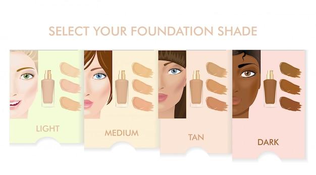 Foundation cream colors set. woman faces